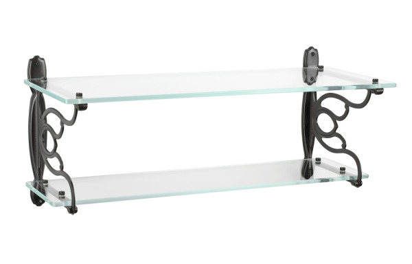 12136A27 Wall mounted double glass bath shelf